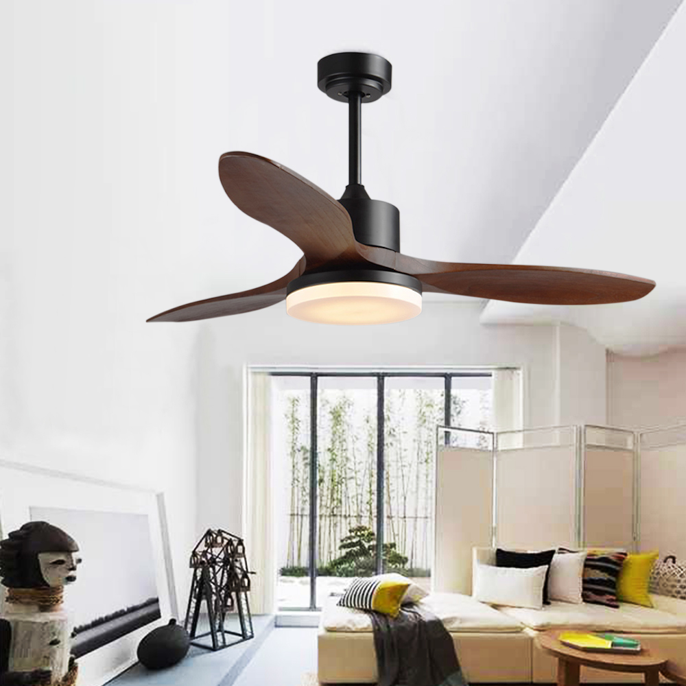 Original 48 Inch Led Silent Ceiling Fan Wooden Leaf Lamp Restaurant Bedroom Lighting Remote Control Dimming Home Decorative 220v Fan Lamp Cheapest Price From Our Site