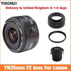 Объектив Yongnuo 35 мм YN35mm F2, объектив для широкоугольной камеры canon, Большая диафрагма, фиксированный объектив с автофокусом, Крепление EF, камер...