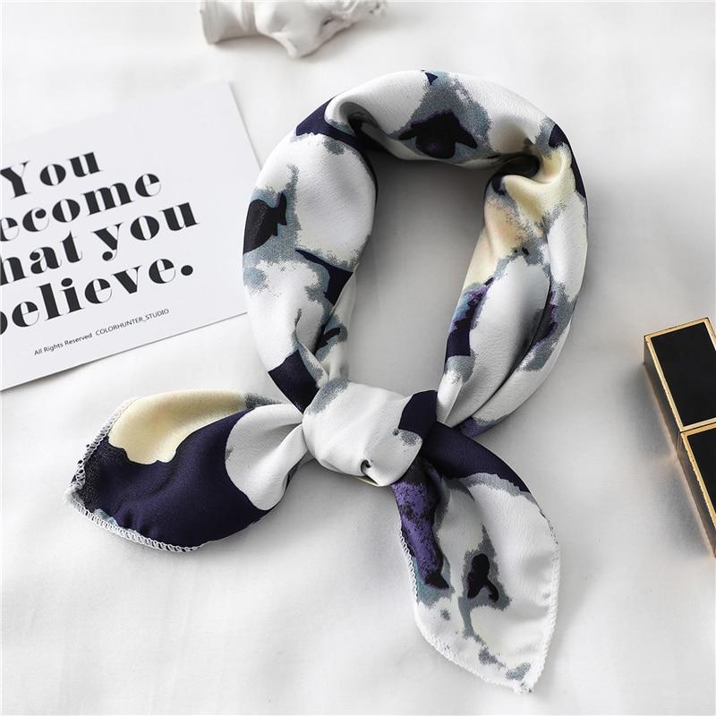 Women Fashion Square Scarf Silk Satin Neck Hair Scarfs Lady's Foulard Hand Kerchief Female Elegant Head Band Tie 2020 New