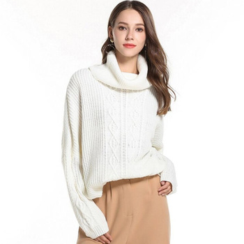 Spring Autumn Womens Turtleneck Loose Sweaters Fashion Pullover Long Sleeves Female Knitting Sweaters One Size Knitwears D579 фото
