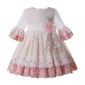 Pettigirl nowe różowe kwiatowe sukienki dla dziewczynek ładna ceremonia dla dzieci odzież Flare rękaw urodziny koronkowa sukienka dla dziewczynek