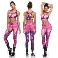 Ensemble de Yoga Fitness Sportswear Ensemble Sexy imprimé vêtements de gym pour femme vêtements de course costume de Sport rembourré boléro Leggings, ZF247