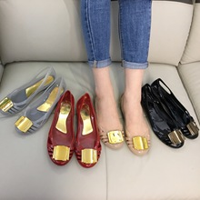 Summer Sandals Jelly Peep-Toe Beach-Shoes Metal-Buckle Slip-On Women's Ladies Candy-Color
