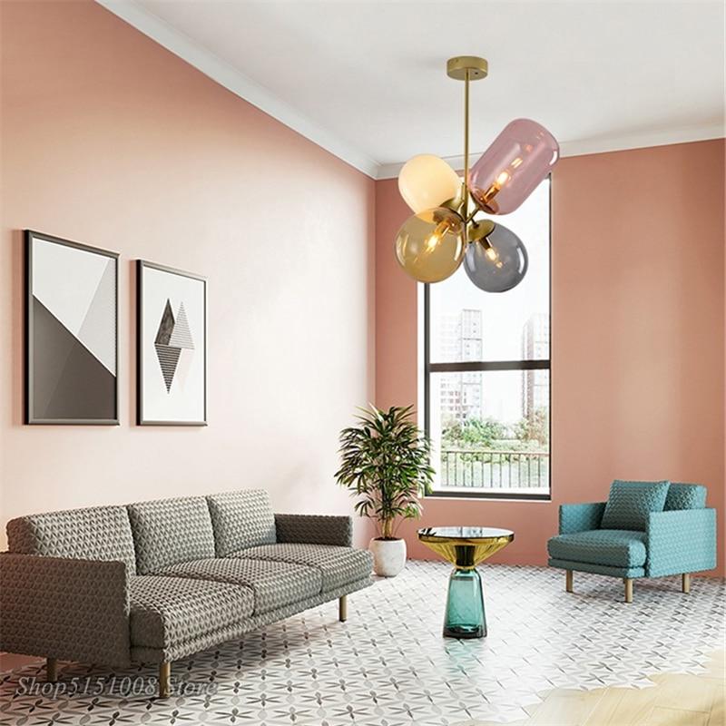 Цветной светодиодный подвесной светильник в скандинавском стиле с воздушным шаром, Подвесная лампа для детской комнаты, спальни, столовой, освещение, Декор - 3