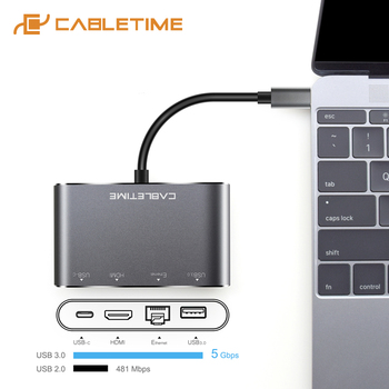 CABLETIME USB C HUB Type C 3.1 to 3 ports USB 3.0 with USB Type C 4 in 1 Hub For Laptop MacBook air Matebook X Samsung C039 хаб usb defender quadro transfer usb 3 1 type c usb 3 0 4 ports 83208