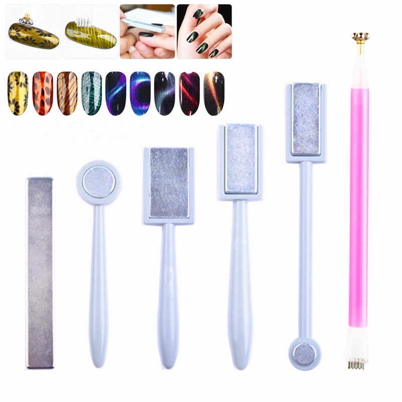 1PC Double Headed Nail Art Magnet Stick Cat Eyes Magnet for Nail Gel Polish 3D Line Strip Effect Strong Magnetic Pen Tools