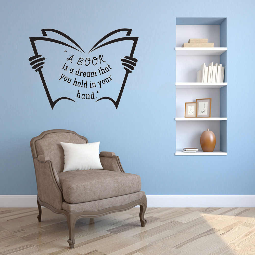 Marvellous Vinyl A Book Is A Dream Library Wall Sticker Diy Decoration Mural Classroom Art Wall Decal Wall Stickers Aliexpress