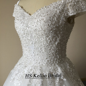 Image 5 - חתונת שמלת מדגם אמיתי תחרה אפליקציות כדור שמלת כלה שמלה עם 1 m זנב