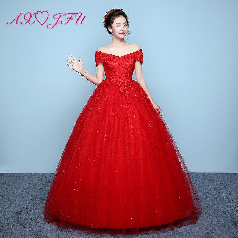 AXJFU Flower Lace Red Wedding Dress Princess Vintage Boat Neck Illusion Crystal Flower Lace Turkey Bride White Wedding Dress