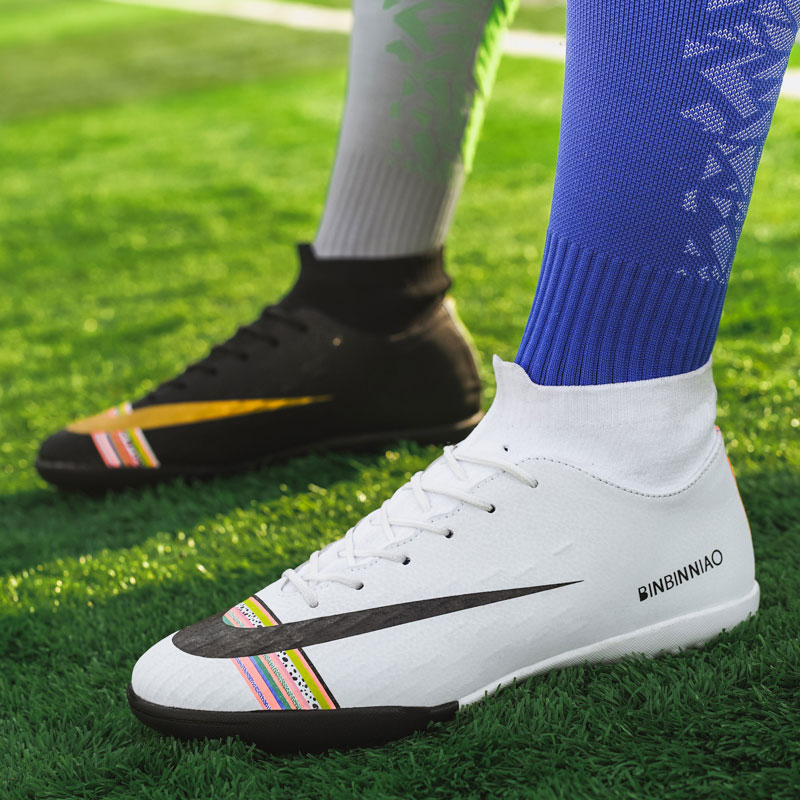 MWY Man High Top Ankle Football Train Shoes Turf TF Flat Classic Soccer Boots Women Sneakers Lightweight Kids Indoor Turf Futsal