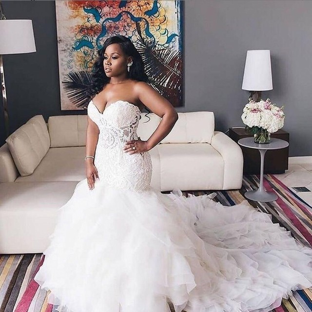 2020 African Wedding Dresses Sweetheart Lace Mermaid Plus Size Bridal Gowns Lace Up Tiered Sweep Train Wedding Vestidos 3
