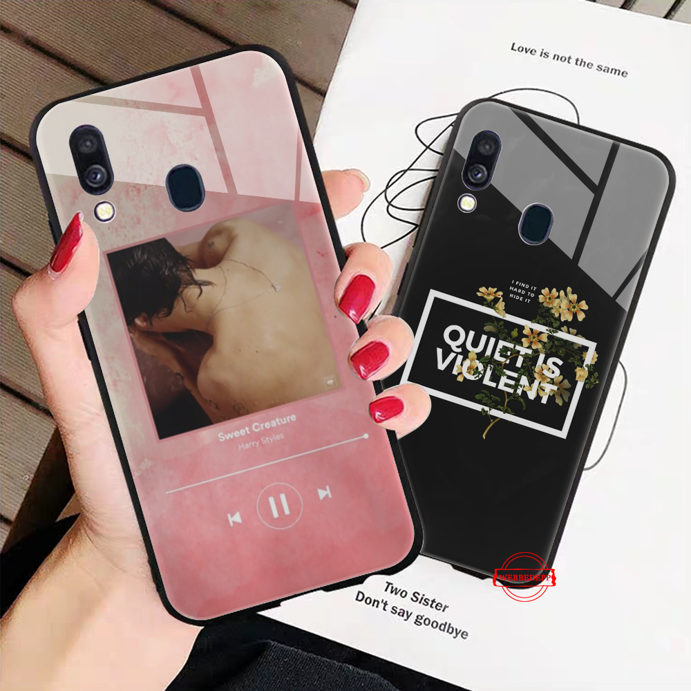 WEBBEDEPP Harry Styles Behandeln Menschen Glass Case for Samsung S7 Edge S8 S9 S10 Plus A10 A20 A30 A40 A50 A60 A70 in Fitted Cases from Cellphones Telecommunications