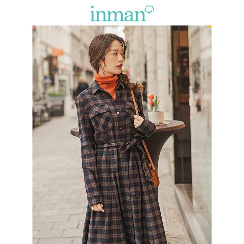 INMAN Spring Autumn 100%Cotton Elegant Turn Down Collar Defined Waist A-line Lacing Retro Plaid Women Dress
