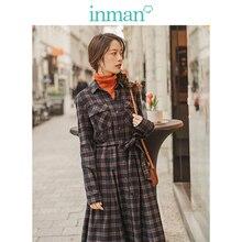 INMAN primavera otoño 100% algodón elegante Turn Down Collar cintura definida A line Lacing Retro Plaid vestido de las mujeres