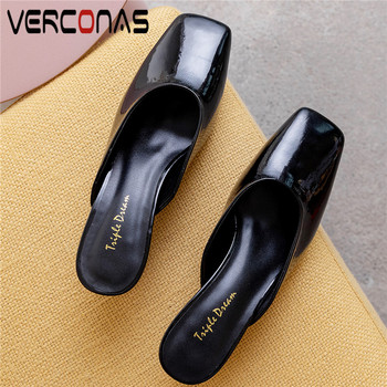 VERCONAS Women 2020 Mules Sandals New Arrival Genuine Leather Shallow Slippers Thick Heels Round Toe Basic Summer Shoes Woman