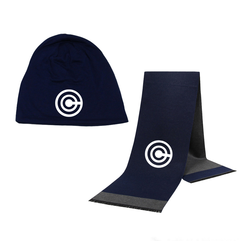 Winter Beanie Hat CAPSULE CORP Men Hat Scarf Solid Color Warm Cotton Scarf Hat Set Male Female Sports Hat Scarf Set 2 Pcs