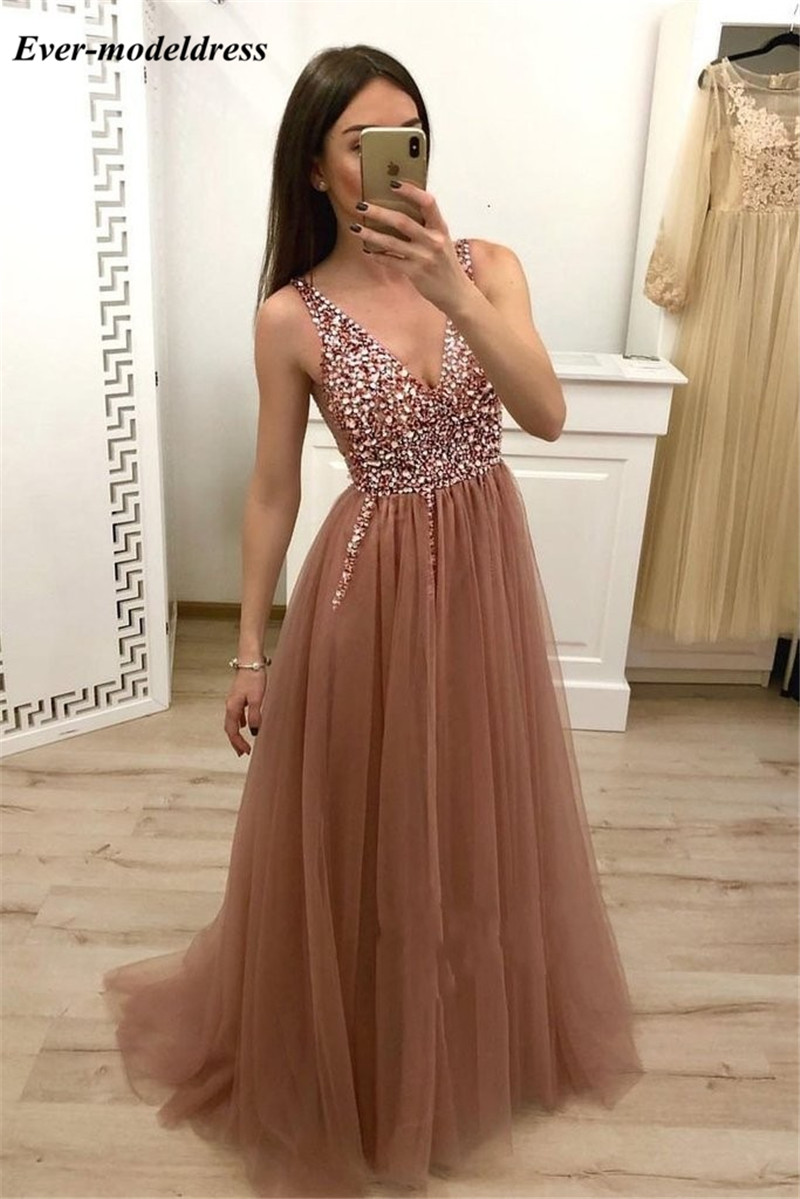 Sparkly Pink Beaded   Prom     Dresses   2019 Deep V-Neck Sequins Rhinestones Corset Back Formal Graduation Party Gowns vestido de gala