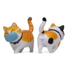 Mini Cute Fat Cat Ornament Face Wearing a Mask Cat Funny Figure Ornament Landscape Decoration