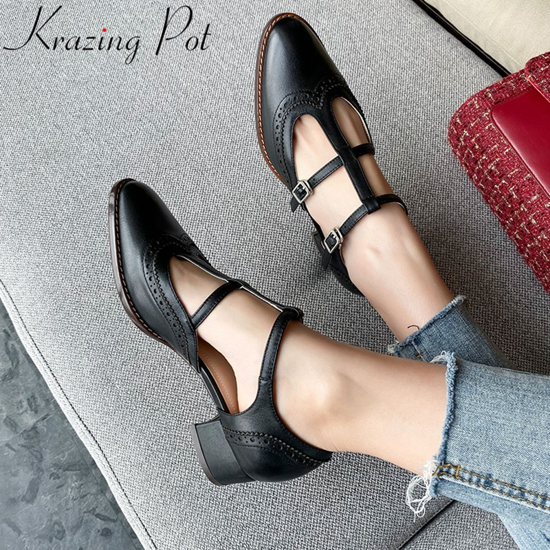 Krazing Pot New Fashion Genuine Leather Buckle Stra Med Heels Women Pumps Elegant Dating Shallow Dress Brand Spring Shoes L31