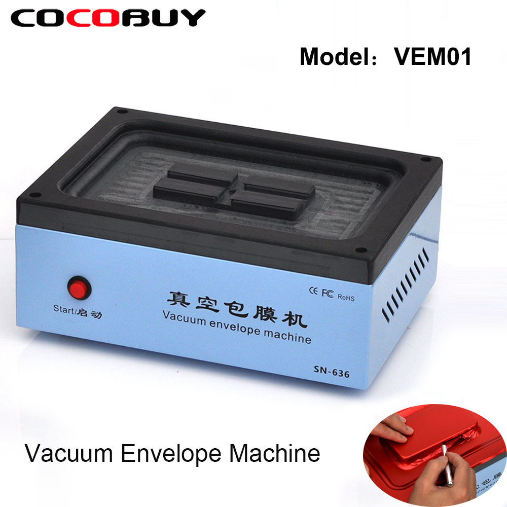Automatic Mobile Phone Vacuum envelope Machine For iPhone Samsung All model Smart phones Back Cover Film Machine Repair Tools
