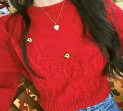 Floral Embroidery Knitted Sweater Women Red O Neck French Vintage Knitwear Knitted Pullover