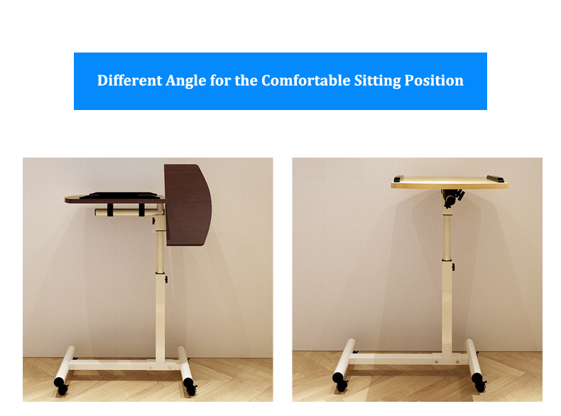 Foldable Laptop Stand with Rotating Wheels and Side Space for Keyboard and Mouse 14