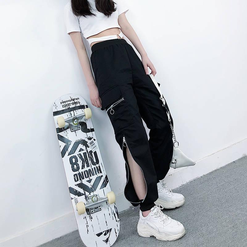 EACHIN Women Fashion Zipper Cargo Pants Black Elastic Waist Loose Streetwear Jogger Trousers Female Plus Size Casual Sport Pants