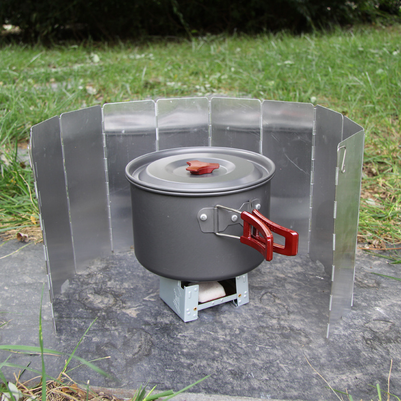 Портативный ветрозащитный экран для плиты, складной экран для пикника, кемпинга, 9 тарелок