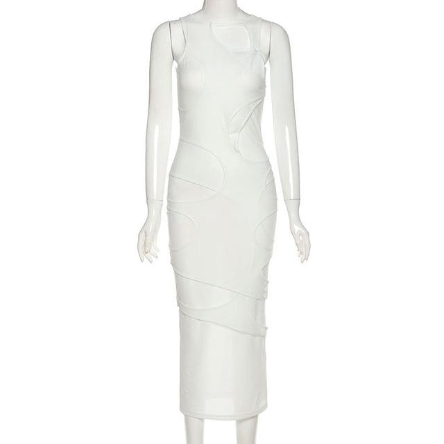 Hugcitar 2020 Sleeveless O-Neck Solid Patchwork Mesh Maxi Dress Autumn Winter Women Fashion Sexy Party Club Elegant Clthings 6