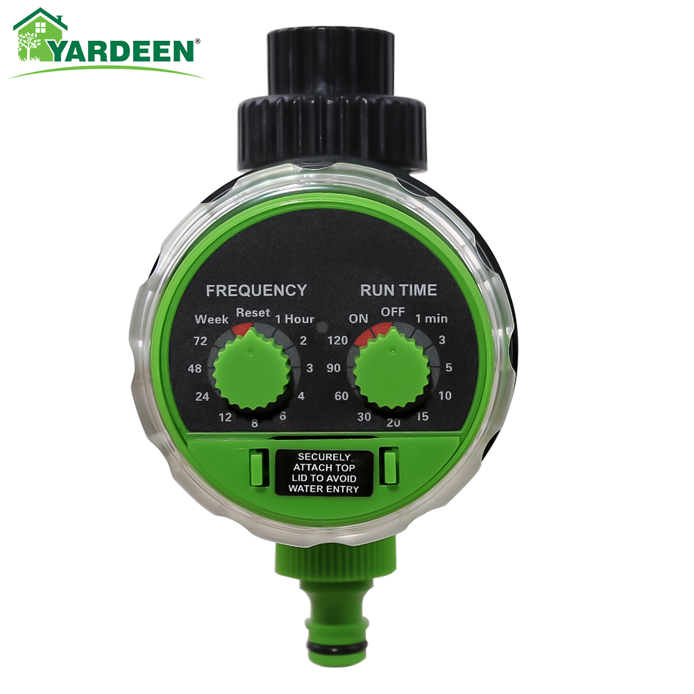 New Arrival Yardeen Electronic Water Hose Timer Garden Ball Valve Irrigation Controller Two Dial Color Green