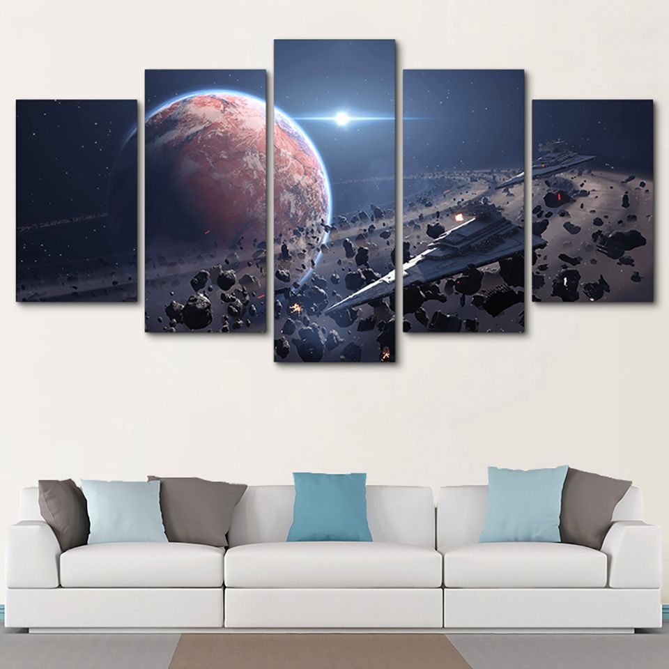 Canvas Printed Pictures Wall Art 5 Pieces Star Wars Movie Painting Imperial Battleship Star Destroyer Poster Home Decor Framed image