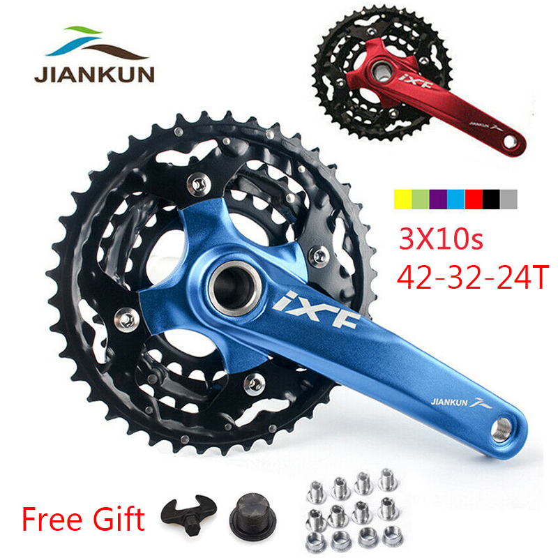 Bicycle Crankset 3x10S Triple Speed 104//64mm BCD 24//32//42T MTB Chainring with BB
