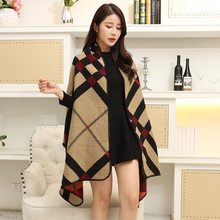 Autumn And Winter New Style Scarf Korean-style Versatile Long Shawl Dual Purpose Cloak Thick Warm Mantle Coat(China)