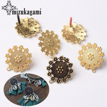 6pcs/lot Zinc Alloy Fashion Vintage Flowers Base Earrings Connector Charms For DIY Drop Earrings Jewelry Making Accessories zinc alloy fashion golden round flowers base earrings connector charms 6pcs lot diy earrings jewelry making accessories