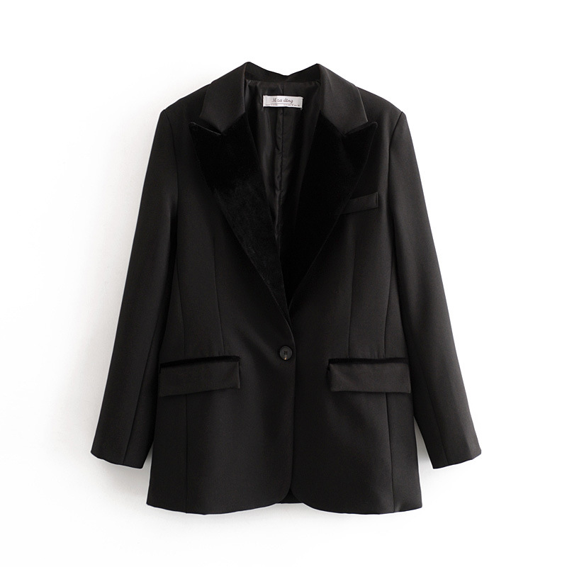 New Women's Jacket for Spring 2020 Casual stitching gold velvet black blazer Feminine small suit Baggy coat Female