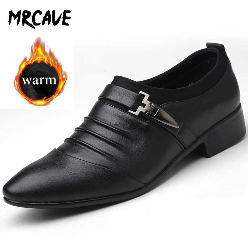MRCAVE Summer Winter 2 Style Men's Shoes PU Leather Fashion Men Business Dress Loafers Breathable Formal Wedding Shoes Slip-on