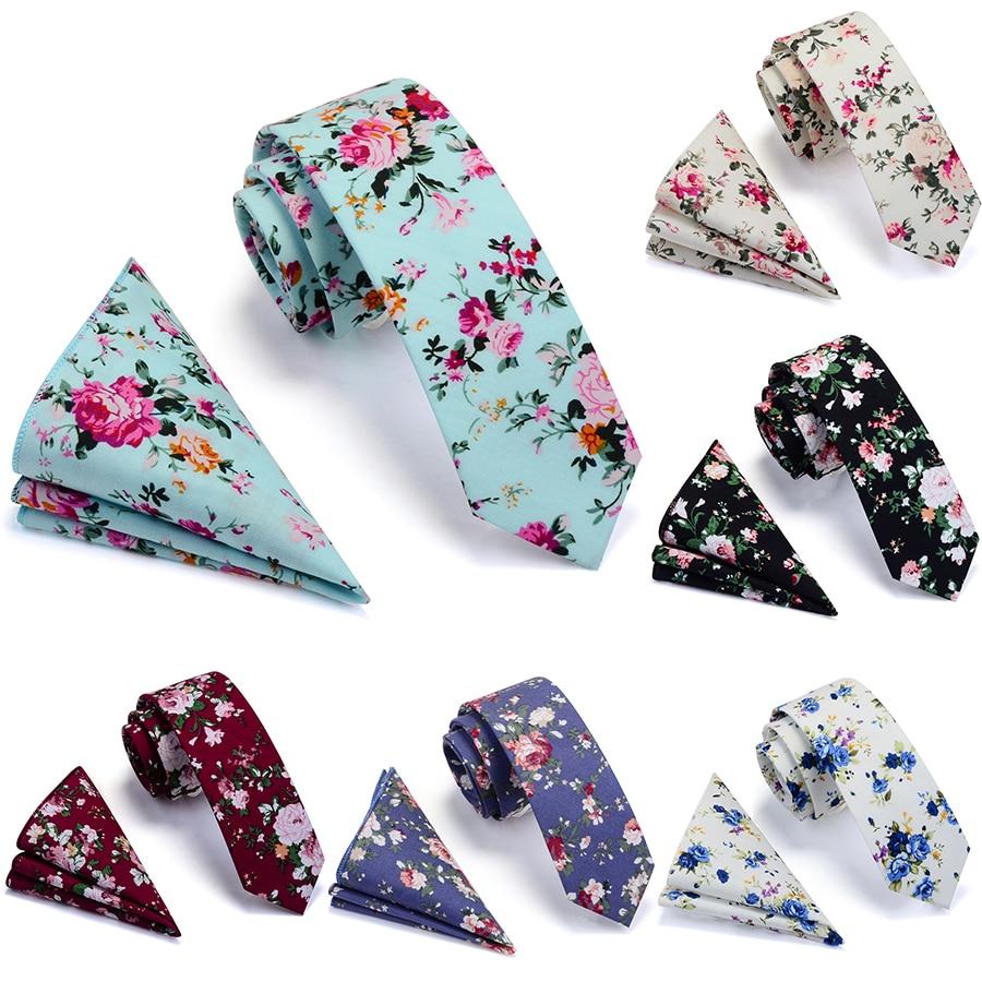 Ricnais 100% Cotton 6cm Slim Pocket Square Necktie Set Red Bule Floral Print Handkerchief Ties Set For Men Party Skinny Neck Tie