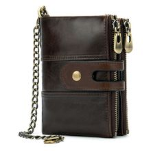 Genuine Leather Men's Bifold Short Wallet RFID Blocking Coin