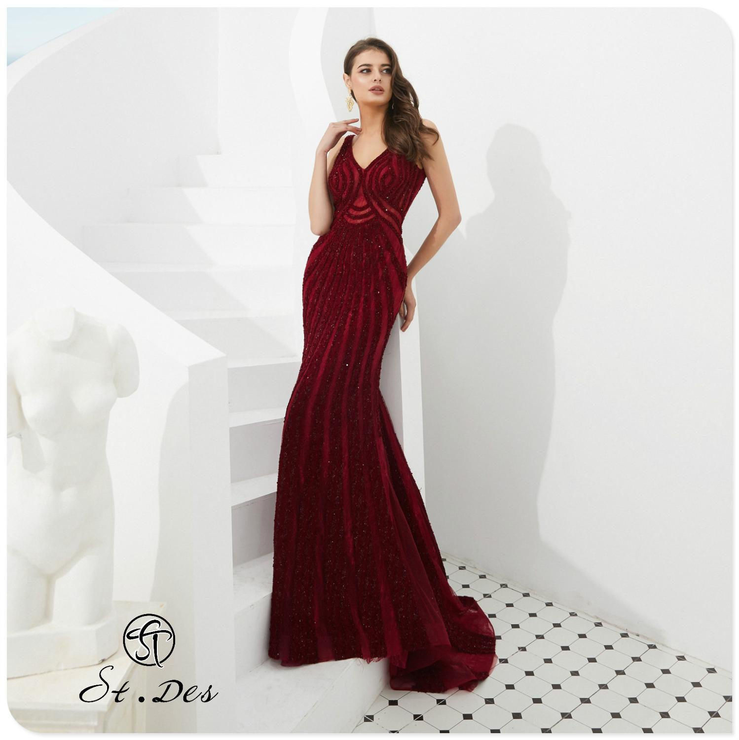 NEW 2020 St.Des Mermaid V-Neck Spaghetti Wine Beading Sleeveless Russian Floor Length Evening Dress Party Dress