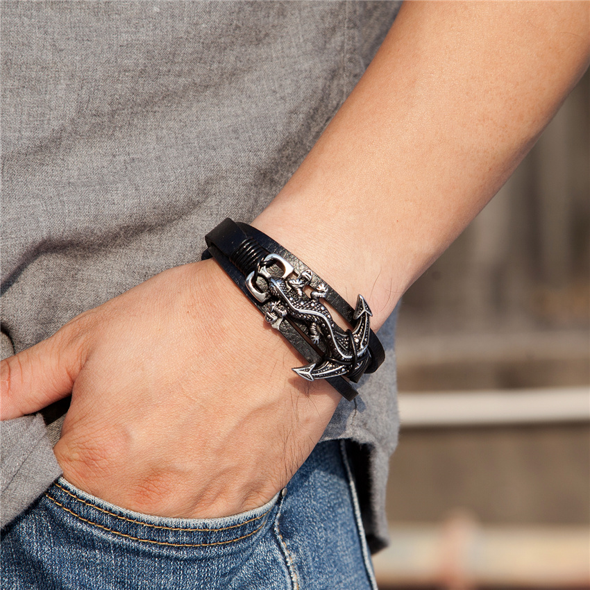 New Fashion Genuine Leather Bracelet Men Gecko Stainless Steel Anchor Bracelet Wristband Mother's Day Father's Day Gift Pulseira