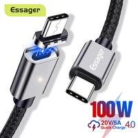 Essager 100W cavo magnetico 5A ricarica rapida USB tipo C a USB C PD magnete cavo di ricarica per MacBook Pro Xiaomi USBC USB-C filo