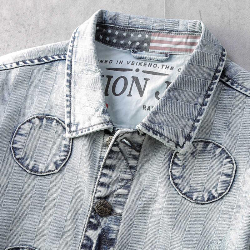Vintage Streetwear moda kurtki męskie wiosna Plus rozmiar XXXL męskie Biker kurtki-pilotki i płaszcze letnie męskie płaszcze dżinsowe A523