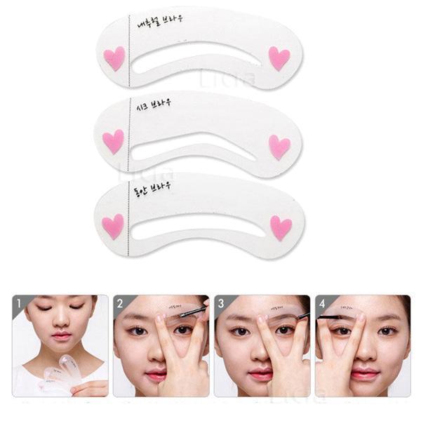 BearPaw 3 Styles/Pack Reusable Eyebrow Stencils DIY Makeup Tools Eyebrow Drawing Guide Card Eyebrow Card Template DIY Makeup 1