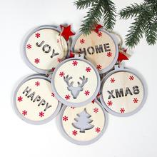 2020 Xmas Wooden Crafts Hollow-out Wording Round Tag DIY Christmas tree Hanging Ornaments for Holiday New Year Party Decoration