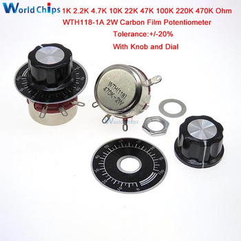 1 комплект WTH118 DIY Kit части 2W 1A 1K 2,2 K 4,7 K 10K 22K 47K 100K 220K 470K Ом 3Pin Линейный Конус поворотный потенциометр с колпачком циферблата