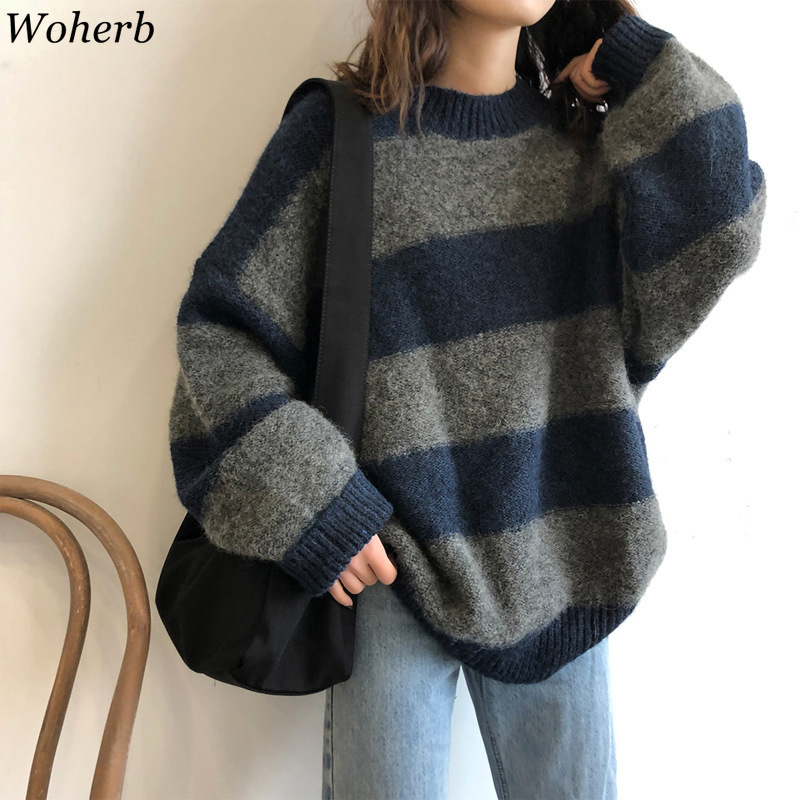 Woherb Women Oversized Thin Sweater Vintage Striped Loose Pullover Streetwear Autumn Knitted Jumper Femme 2021 Sueter Mujer