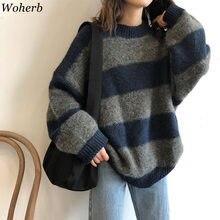 Woherb kobiety ponadgabarytowych cienki sweter w stylu Vintage, w paski luźny sweter Streetwear jesień sweter z dzianiny Femme 2021 Sueter Mujer