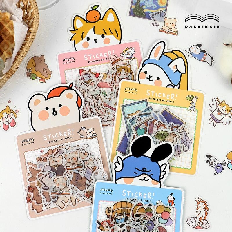 Cute Cartoon Animals Bear Cat Bullet Journal Decorative Stickers Scrapbooking Stick Label Diary Album Stationery Sticker