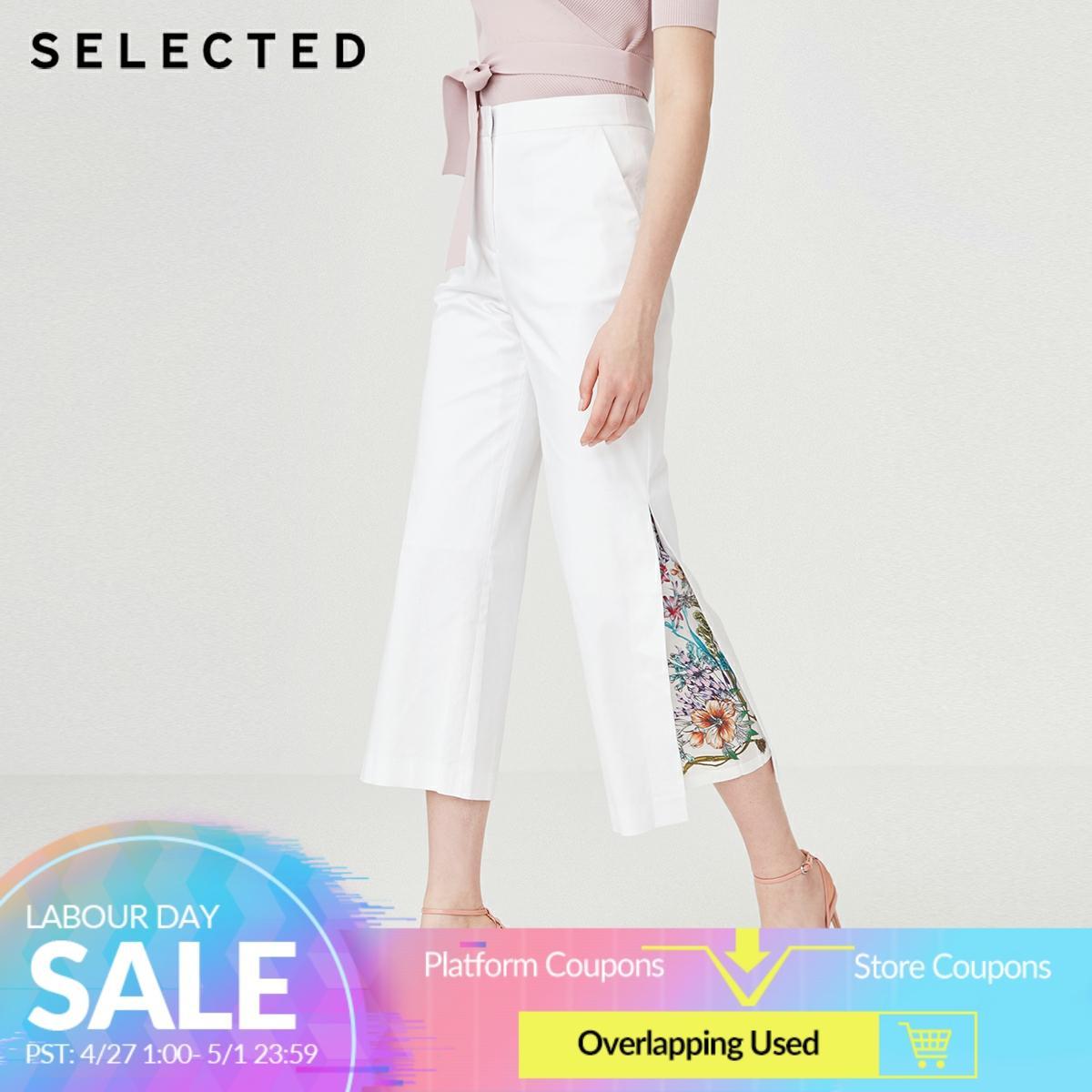 SELECTED Women's Tencel White Print Spliced Wide-leg Pants S|419218503