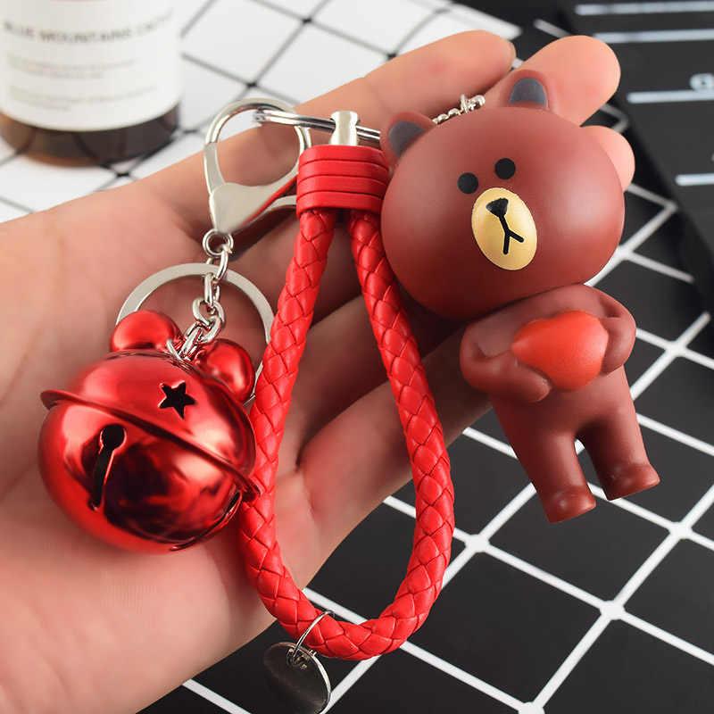 Dos desenhos animados Urso De Pelúcia Keychain Trinket de Couro Das Mulheres Correntes de Metal da Chave Do Carro Bag Pendent Charme Para O Presente do Dia Dos Namorados 2019